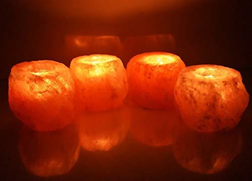 Deenz 4x himalayan crystal rock salt candle tea light holder 100% naturale qualità premium e fine (4x portacandele)