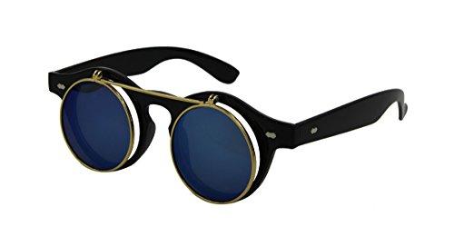 ASVP Shop® Steampunk Goggles Glasses Round Sunglasses Emo Retro Vintage Flip Up Cyber A1