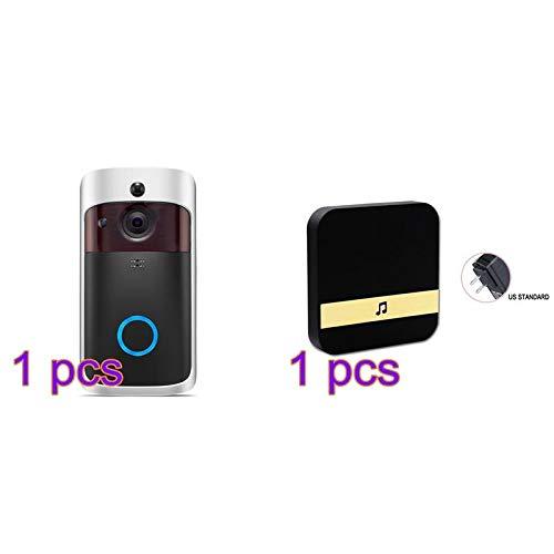Bell Door Wireless - Houkiper Door Bell Remote Monitoring Doorbell Wifi Smart Visible Digital Viewer Voice Call - Aluminum Made Replacement Bronze Doorphone Instant Plate Nickel Wide Motion Dia (Ringe Nickel-scope)
