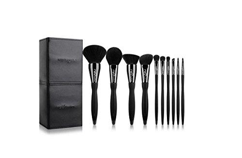 SMX&xh Noir 10 pcs Maquillage Brosses Ensemble Professionnel Cosmétiques Sourcils Fondation Ombres Maquillage Beauté Outils Kits + Sac