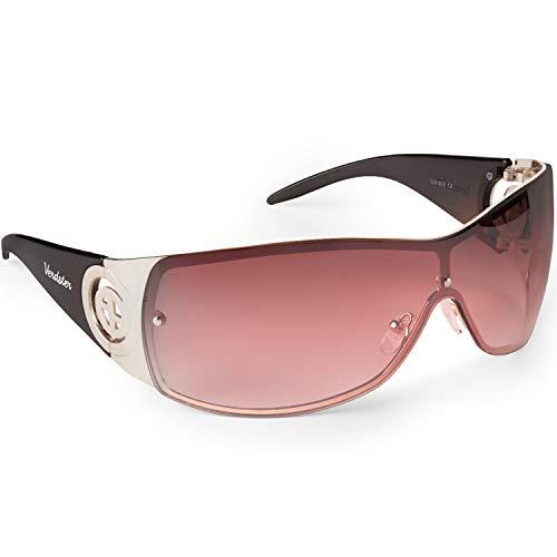 Verdster Trendige XL Sonnenbrille für Frauen - Spezielle TourDePro Gläser - Zubehör Etui - UV400 Schutz - Metallrahmen - Ideal zum Autofahren Städtetouren (Schwarz/Gold)