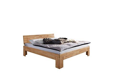 SAM Design Schlafzimmer-Bett 140x200 cm SIENNA massiv Wildeiche-Holz Natur, geschlossenes Kopfteil