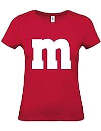 Shirt-Panda Damen T-Shirt M&M Gruppen Kostüm Karneval Fasching Verkleidung Party JGA Frauen
