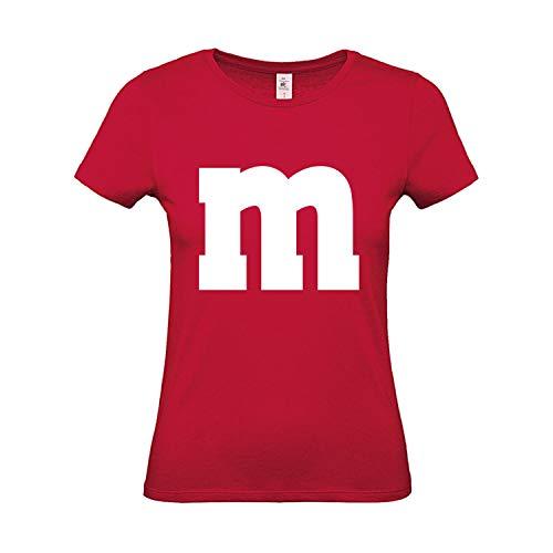 Shirt M&M Gruppen Kostüm Karneval Fasching Verkleidung Party JGA Frauen Rot M ()
