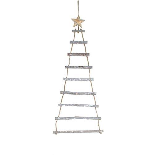 Holzleiter mit Stern zum Hängen und Dekorieren - Dekoleiter - Weihnachten - 25 x 70 cm Natur - 62233