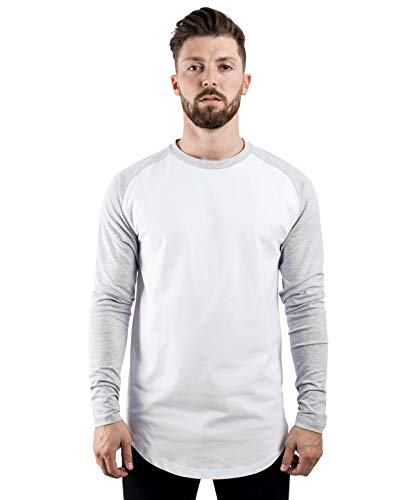 Blackskies Baseball Longsleeve T-Shirt | Langes Oversize Fashion Basic Langarm Raglan Herren Longshirt Long Tee - Weiß-Grau Large L -
