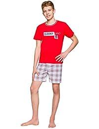 TARO Pijama de Niño Corto Dos Piezas Set Camiseta Pantalones Cortos Adolescente Joven Algodón Muchos Colores