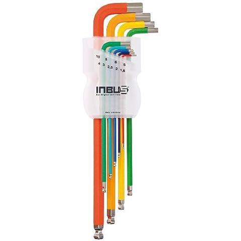 INBUS® 70266 Juego de llaves Allen con código de colores y punta de bola, métricas, 9 unidades 1,5-10 mm | Fabricado en Alemania | Llaves Allen | Llaves acodadas | 1,5 mm | 2 mm | 2,5 mm | 3 mm | 4 mm | 5 mm | 6 mm | 8 mm | 10 mm | de