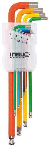 INBUS® 70266 Inbusschlüssel Satz Farbcodiert mit Kugelkopf Metrisch 9tlg. 1,5-10mm | Made in Germany | Innensechskant-Schlüssel | Winkel-Schlüssel | 1,5mm | 2mm | 2,5mm | 3mm | 4mm | 5mm | 6mm | 8mm | 10mm | bunt | farbig