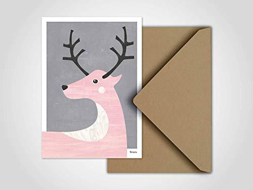 Deer/Weihnachtskarte, Grußkarte, Karte, Weihnachten, Schnee, Schneemann, Winter, Familie, Weihnachtskarte Schnee, Weihnachtsmann, Rentier (Weihnachtsmann Postkarten)
