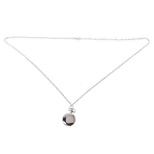 zrshygs Taschenuhr Silber Quarz Uhren Frauen Kette Anhänger Kragen Halskette Schmuck Einfache Mode Kreative Charme Geschenke Vintage Mini Größe
