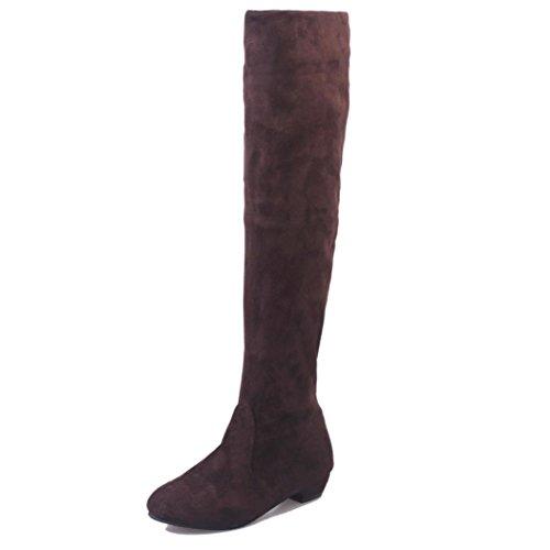 Zapatos de mujer Botas de mujer Botines Mujer Invierno Otoño Negro Plano Pierna alta Ante Casual Largo Alto Botas LMMVP (38, Marrón)