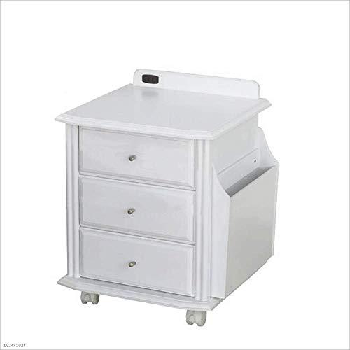 Gyh comodino comodino comodino in legno massello bianco armadietti a rotelle universali con cassetto armadietto di sicurezza comodini