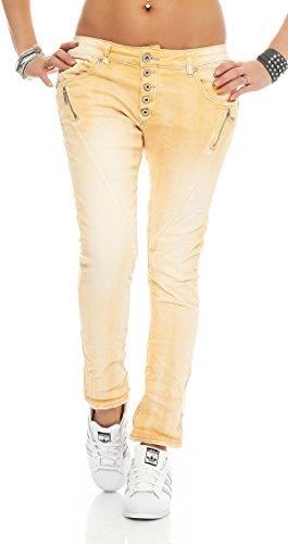 SKUTARI Damen - Jeans Boyfriend Stretch Denim Zip-Taschen , Apricot , Gr. XL (Dunkle Jeans Stonewashed)