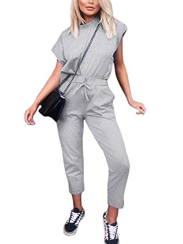 Minetom Damen 2 Stücke Sets Outfit Sport Yoga Fitness Lose Jogginganzug mit Kordelzug Beiläufig T-Shirt Top und 7/8 Länge Hose Grau DE 38 - Running Shirt Gry