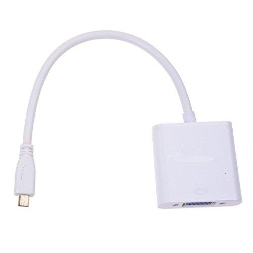 SODIAL(R) Adaptador Conector Micro HDMI Macho a Hembra VGA + Cable de Audio Blanco