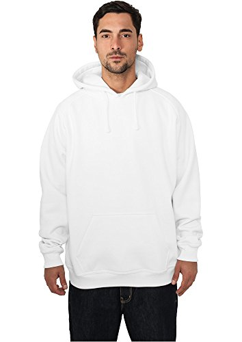 Urban Classics Blank Hoody | Herren Kapuzenpullover in white in Größe: XL + original Bandana gratis (Bandana Green Cotton)