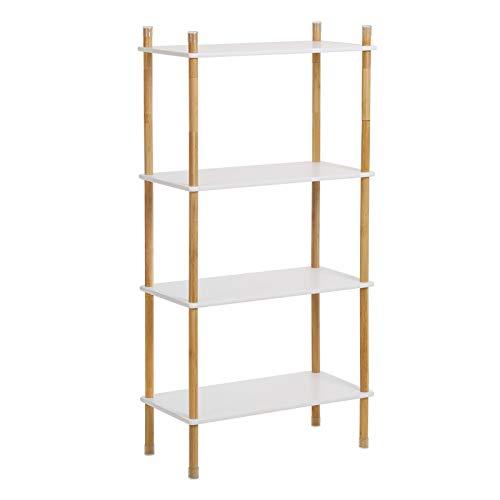 VASAGLE Aufbewahrungsregal mit 4 Ebenen, Standregal, Beine aus Bambus, erweiterbar, Bücherregal, Höhe verstellbar, ideal für Wohnzimmer, Badezimmer, Küche, weiß-naturfarben LUS104WN
