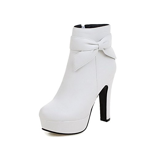 VogueZone009 Donna Cerniera Punta Tonda Tacco Alto Bassa Altezza Stivali con Cappio Bianco
