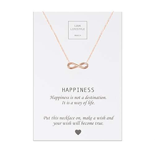 LUUK LIFESTYLE Edelstahl Halskette mit Infinity Anhänger und Happiness Spruchkarte, Glücksbringer, Damen Schmuck, rosé (Infinity-schmuck Rose Gold)