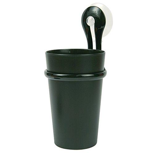 koziol Zahnputzbecher-Halter 300 ml Loop,  Kunststoff, transparent anthrazit, 8 x 7,2 x 17,5 cm