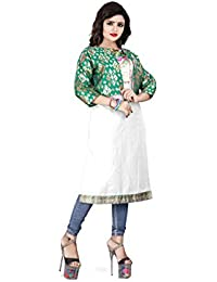 RAHEE COLLECTION Women's Silk Stitched Jacket (Green & Gold) Size: X-Large