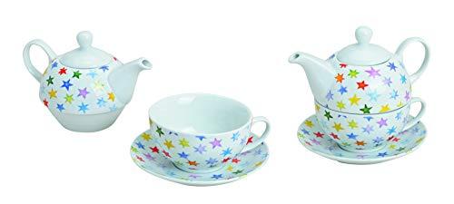 Wurm Tea for One Teekannen-Set mit bunten Sternen aus Porzellan 3-teilig in Einer runden Geschenkbox