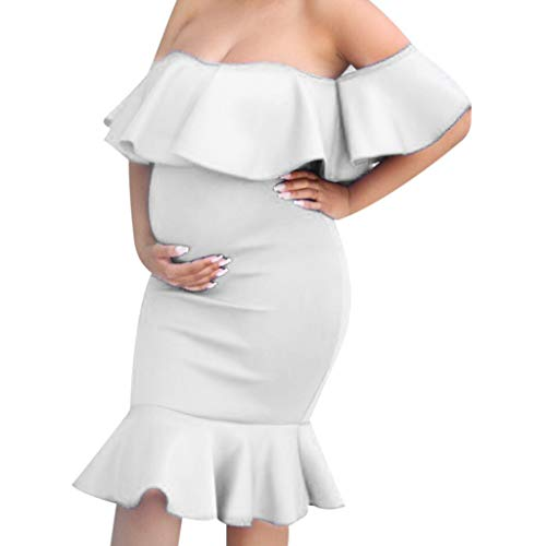 Amphia - Frauen Schwangerschaft Feste Kleid Mutterschaft Sommer Kurzarm Sommerkleid Kleidung - Schwangere Frauen kurzärmeliges, Gerafftes, mittellanges Umstandskleid mit ()