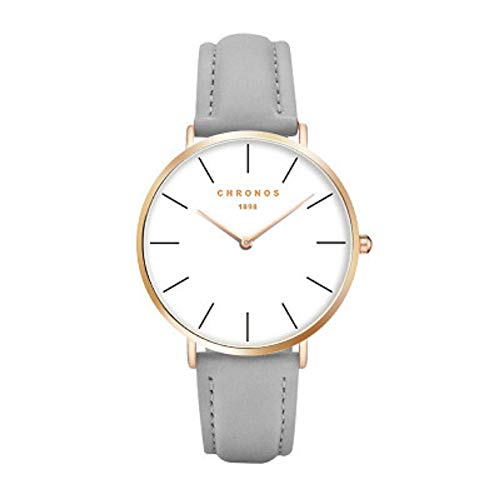 Mode Klassisch Unisex Damenuhren Herrenuhren PU Lederband Anolog Armbanduhren für Männer Frauen, Grau-Silber