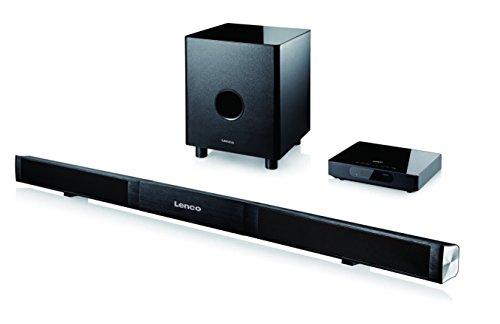 Lenco-SB-0160-21-Aluminium-Soundbarsystem-Bluetoothkabelloser-Subwoofer-Funk-externer-Verstrker-HDMI-LED-Display-80-Watt-Fernbedienung-schwarz