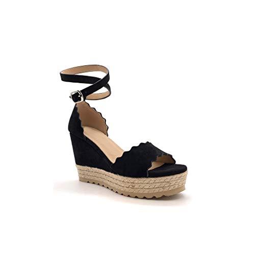 Angkorly - Scarpe Moda Sandali Espadrillas Aperto con Cinturino alla Caviglia Zeppe Donna con Paglia Basic Onde Tacco Zeppa Piattaforma 9.5 CM - Nero 429-11 T 38