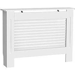 Finether Painted Cache-radiateur Armoire Meubles de Maison Horizontal Design Moderne à Lattes en MDF Blanc, Taille M