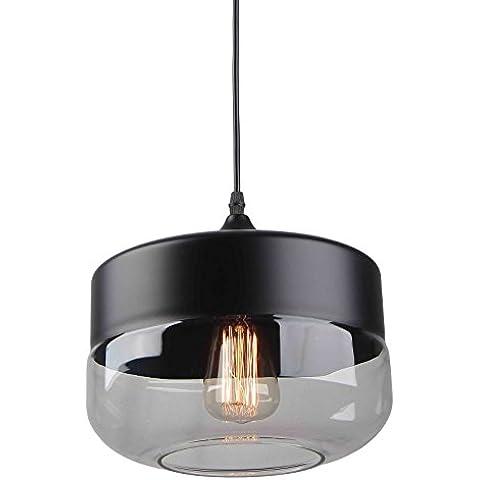 Lámpara retro vintage cristal y negro forma cilíndrica