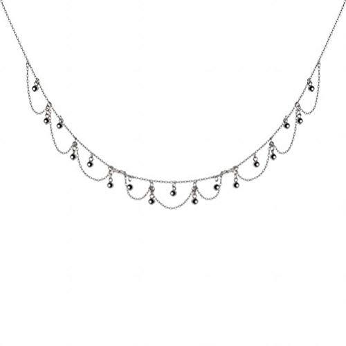 katylen - necklace S925 Silber Fransen Halskette Weibliche Welle Doppel Kleine Perlen Kurze Hals Kette Temperament Schlüsselbein Kette, S925 Silver Set Chain -