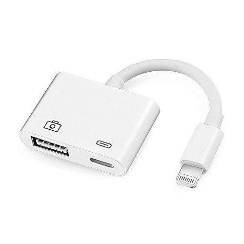 Lightning adattatore for iphone/ipad, USB Camera adapter, Adattatore da Lightning a USB per fotocamera, adattatore da lightning a USB 3.0 femmina OTG cavo con alimentazione USB interfaccia di iPhone e iPad, no app necessari [Support iOS 10.3 e 11)