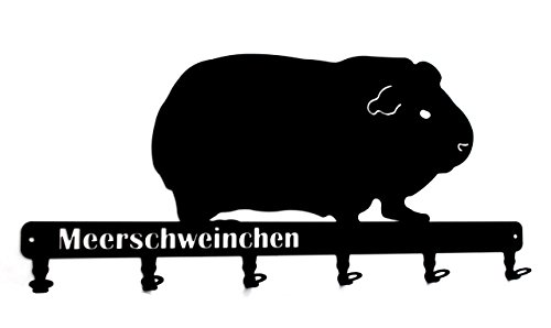 steelprint.de Wandgarderobe - Meerschweinchen - Flurgarderobe 58 cm - Kleiderhaken, Hakenleiste, Garderobeneiste, Garderobenhalter, Garderobe - Metall, schwarz