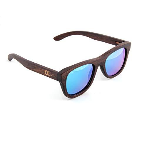 OC BAMBUS SONNENBRILLE FÜR DAMEN UND HERREN mit Brillen-Etui als UV400 polarisierte Wayfarer - Blau verspiegelte Gläser