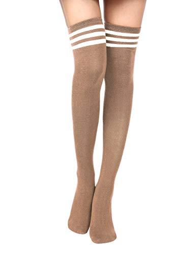 Crystallly Damen 3 Streifen Elastisch Hohe Casual Socken Schuluniform Bequeme Ringelsocken Einfacher Stil College Wind Fashion Basic (Color : Khaki, Size : One Size) -