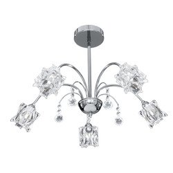 Searchlight Fabia 5 Ceiling Light in chrome and glass/crystal (8525-5CC)