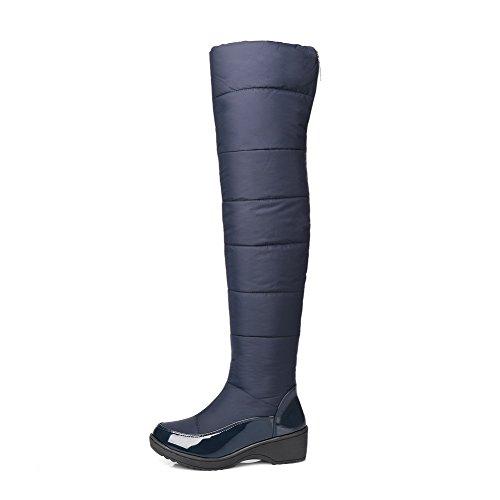 Odomolor Damen Blend-Materialien Hoch-Spitze Rein Reißverschluss Mittler Absatz Stiefel Blau