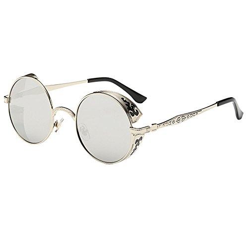 VRTUR Retro Sonnenbrille im Steampunk Stil, runder Metallrahmen, polarisiert, Kleine Rund Verspiegelt Linsen Polarisiert Punk Brille für Damen und Herren(One size,Silber)