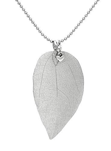 Damen Halskette mit echtem Blatt mit Metall-Beschichtung und Herz Anhänger Kugelkette 70cm lang Collier Kette Damen nickelfrei Silber