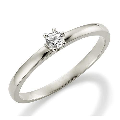 Verlobungsring Weißgold 6 Krappen Ehering Engagement Ring Antragsring Neu in 585 und in 333/375 Weiß Gold Brillant Schliff Zirkonia (9 Karat (375) Weißgold, 51 (16.2)) (Cartier Ehering Gold)