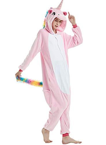 Amenxi Tier Onesie Pyjama Cosplay Kostüme Schlafanzug Erwachsene Unisex Animal Tieroutfit tierkostüme Jumpsuit Nachtwäsche (Rosa, Körpergröße 155-165cm (M))