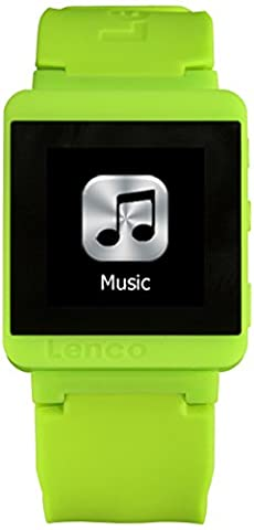 Lenco MP3 Sportwatch-100 Bluetooth Sportuhr mit MP3 (Micro-USB, Touchscreen, Schrittzähler, spritzwassergeschützt nach Norm IPX-4, Silikon-Uhrarmband) lime