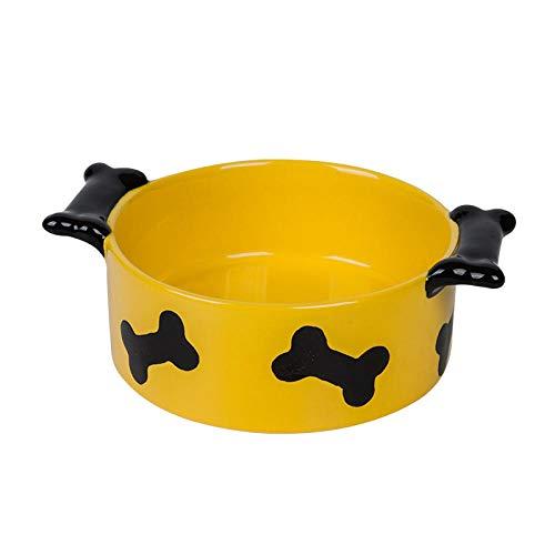 THFPetting Windeln & Bodenschutz/Windeln25 Zoll doppel Knochen Griff gelb glasur knochendruck hundenapf hundefutter schüssel Becken 16 cm * 12,5 cm * 5,3 cm -