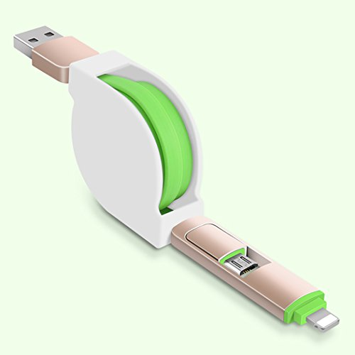 Zwei-in-One-Universal-Micro-USB-und Beleuchtung Retractable USB-Kabel - LoongGate USB-Sync-Daten-Ladegerät-Kabel mit Alloy Case Anschlüsse (1m, Grün) (In Free-headset One Hands All)