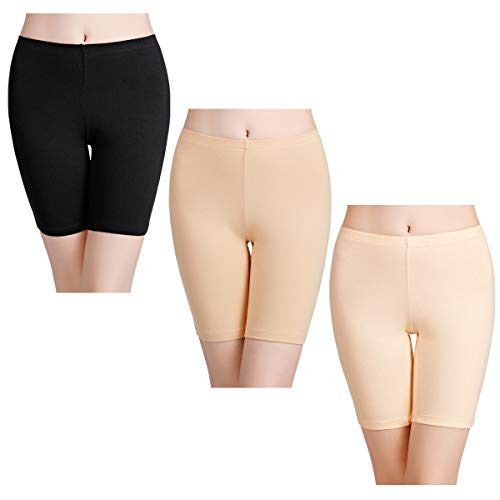 wirarpa Unterhosen Radlerhose Boxershorts Damen 3er Pack Hoher Bund Baumwolle Shorts Panties Lange Unterwäsche Größe L