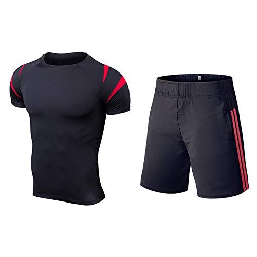 QJKai Fitness-Kleidung Herren schnell trocknende Stretch-Strumpfhose Fitness-Training Laufbekleidung Outdoor-Sportbekleidung zweiteilig -
