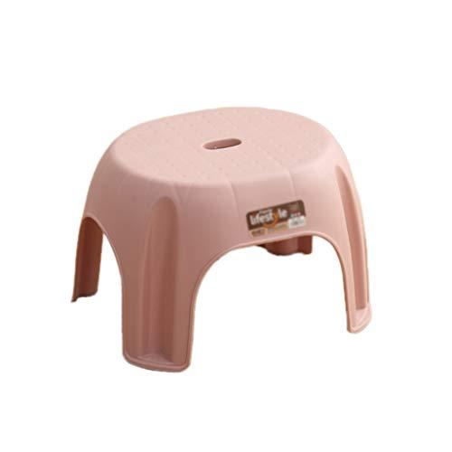 CJX-Step Stools Kleiner Hocker, robuster, langlebiger Kunststoff-Stapelhocker rutschfest, leicht zu reinigen, stapelbarer Hocker für Kinder-Badhocker (Farbe : Rosa, größe : 27 * 21.5 * 15.5CM)